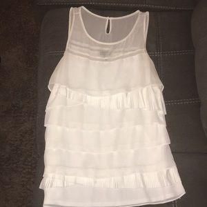 Express tank top blouse white draped size large
